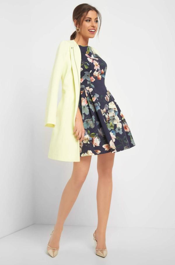 Mantel in A-Linie Hochzeit gelb blau Orsay