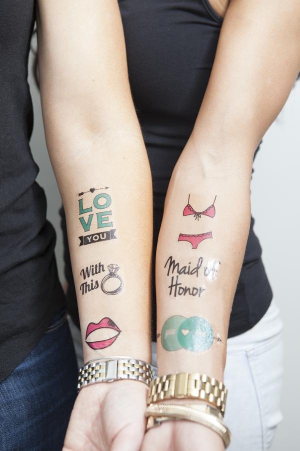 hochzeitsh ppchen diy tattoo aufkleber f r braut party. Black Bedroom Furniture Sets. Home Design Ideas